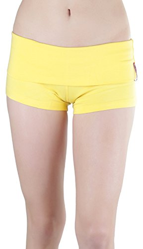 ToBeInStyle Women's Wide Waistband Rollover Yoga Shorts - Yellow - Small (Shorts Striped Spandex)