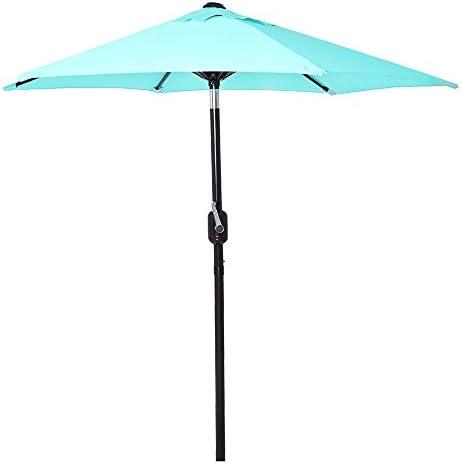 6 Ft Outdoor Patio Umbrella with Aluminum Pole, Easy Open Close Crank and Push Button Tilt Adjustment – Aqua Market Umbrellas
