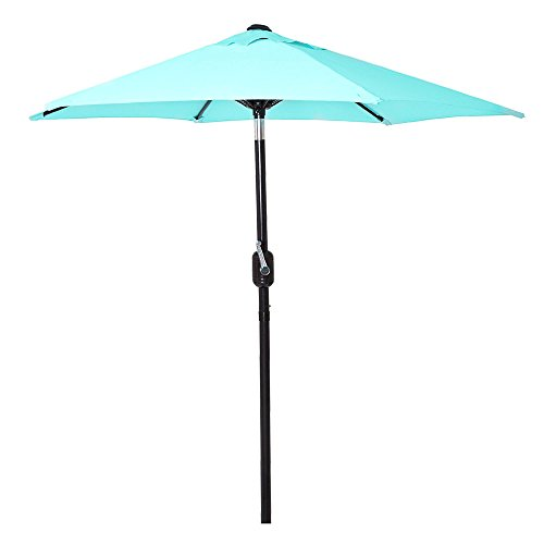 6 Ft Outdoor Patio Umbrella Aluminum Pole, Easy Open/Close Crank Push Button Tilt Adjustment - Aqua Market Umbrellas by Punchau