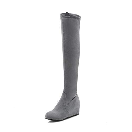 Sandalette-DEDE Europeos y Americanos Botas de Tacon de Moda Llevar Botas hasta la Rodilla gray