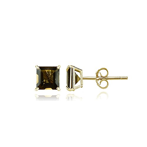 Bria Lou 14k Yellow Gold Smoky Quartz Gemstone 4mm Square-Cut Solitaire Stud Earrings (Necklace Swarovski Quartz Smoky)