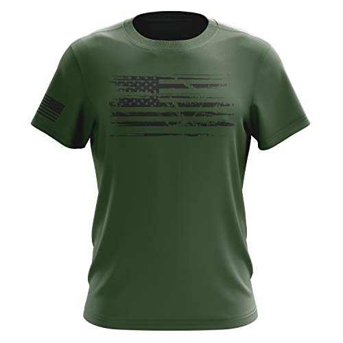 (Tactical Pro Supply American Flag Military Army Mens T Shirt (White Flag Green, XX-Large))