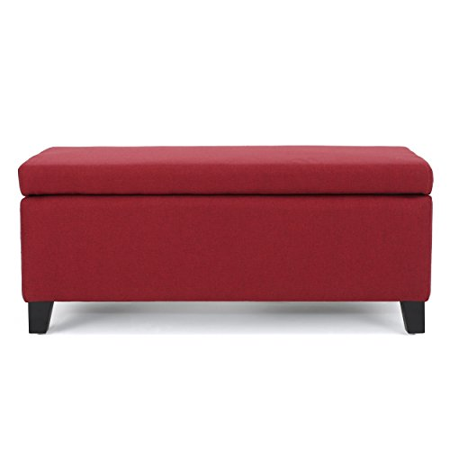 Christopher Knight Home 300167 Living Mataeo Red Fabric Storage Ottoman, Deep For Sale