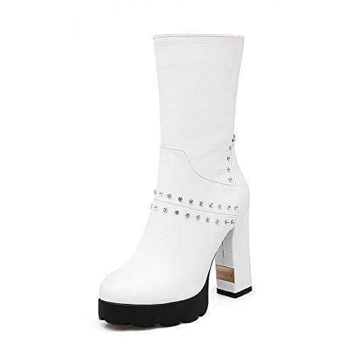 AllhqFashion Damen Rund Zehe Hoher Absatz Niedrig-Spitze Rein Stiefel mit Schleife, Weiß, 34