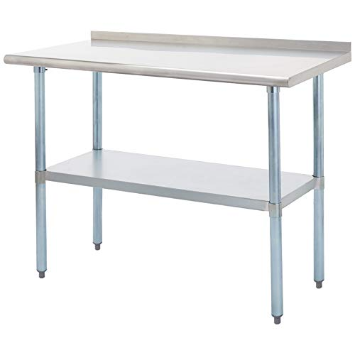 Rockpoint Carmona Tall NSF Stainless-Steel Commercial Kitchen Work Table with Backsplash and Adjustable Shelf, 48 x 24 - Inch Kitchen 24 Backsplash