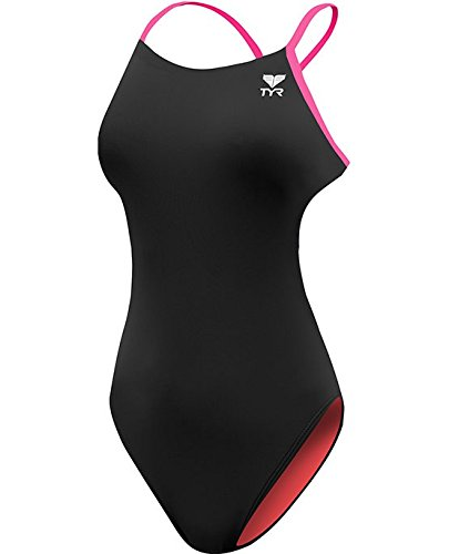 TYR Women's Durafast One Solids Swimsuit, Black/Pink, Size 38
