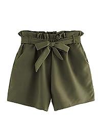 Milumia - Pantalones Cortos de Cintura elástica para Mujer con Bolsillo, Verde ejército, L