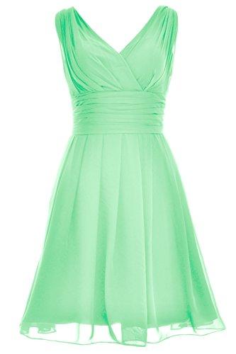 MACloth Elegant Short Bridesmaid Dress V Neck Wedding Party Formal Gown Minze AFiZvR4