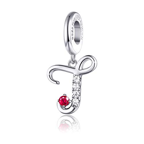 FOREVER QUEEN 925 Sterling Silver J Letter Initial Dangle Beads Charm Red Zircon Alphabet Pendants for Snake Chain Bracelets Necklace Gift Jewelry for Mother