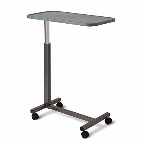 Medline Adjustable Overbed Bedside Table with Wheels, Great for Hospital Use or at Home as Bed Tray, Composite Table Top