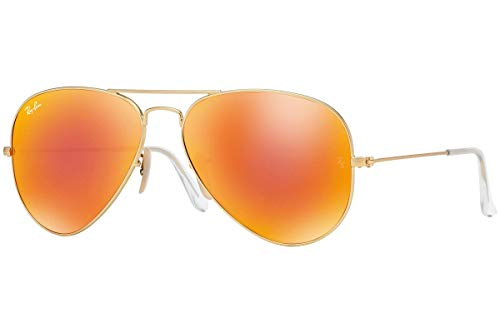 Ray-Ban RB3025 Aviator Flash Mirrored Sunglasses, Matte Gold/Orange Flash, 58 mm (Mirrored Wayfarers Ray Ban)