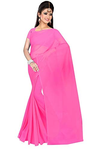 3d883f5697 Queen Star Trends Women's Solid Plain Georgette saree With Unstitched  Blouse Piece: Amazon.in: Clothing & Accessories