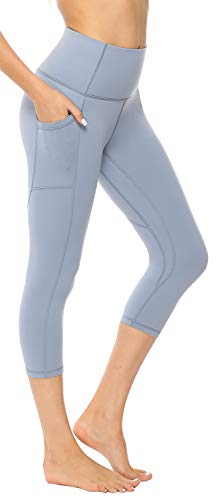 (AFITNE Yoga Pants for Women High Waisted Capri Leggings Tummy Control Athletic Workout Leggings with Pockets Fitness Tights Gym Activewear Blue - XS)
