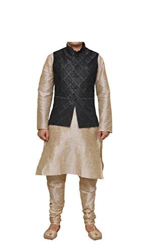 (Mag Men's Double Tone Matching silk Kurta Churidhar With Black 1st Waistcoat (RG-11014-40))