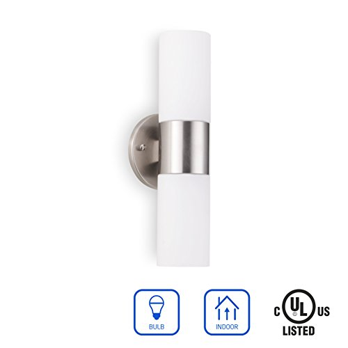OSTWIN 2-Light Interior Wall Sconce Lighting Fixture WS13, Hardwire E26 Base Modern Wall Mount Lamp Lights, Vertical or Horizontal Tube, Brushed Nickel Finish, White Glass Shade, UL Listed ()