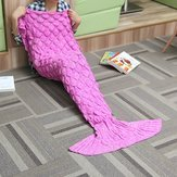 Hindquarters Cover - 180x90 Yarn Knitting Mermaid Tail Blanket Wave Stripe Warm Bed Mat Soft Sleep Bag - Keister Derriere All-Embracing Assembly Fanny Wide Poop Stern Ass - (Wave Knitting Bag)