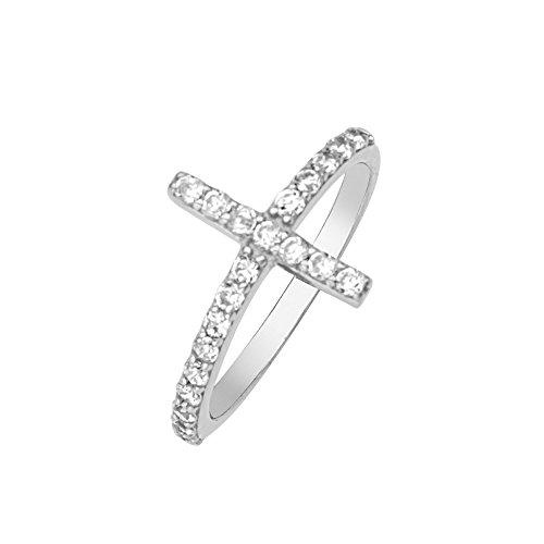 Cross Ring, E2W Cubic Zircon Cross Ring by DiamondJewelryNY