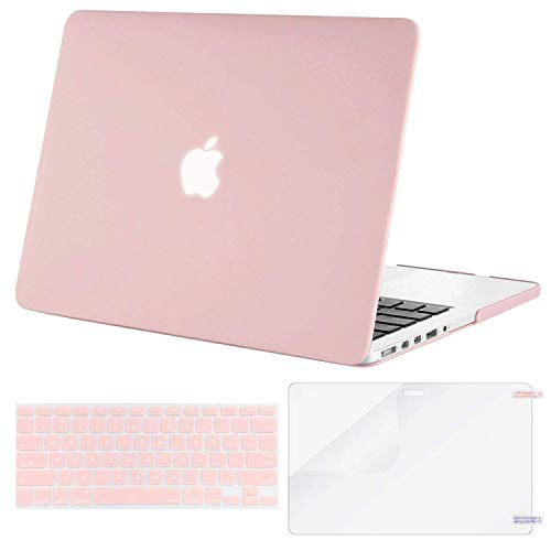 MOSISO Case Only Compatible with Older Version MacBook Pro Retina 13 inch (Models: A1502 & A1425) (Release 2015 - end 2012), Plastic Hard Shell Case & Keyboard Cover & Screen Protector, Rose Quartz