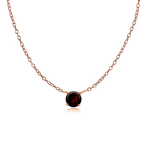 Ice Gems Rose Gold Flashed Sterling Silver Small Dainty Round Garnet Choker Necklace