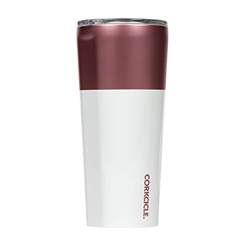 Corkcicle Tumbler - Color Block Collection - Triple Insulated Stainless Steel Travel Mug, Modern Rose, 24oz (Corkcicle Color)