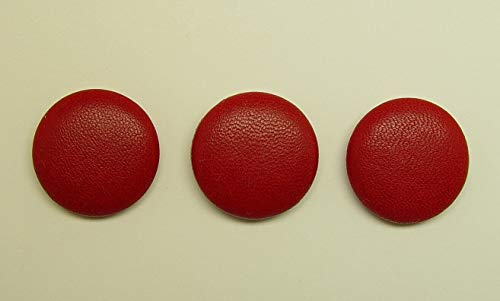 (Crafting and adorning Costumes - 3 Made 1 inch red Leather Covered Blazer Jacket Coat Buttons, Metal Loop - Perfect for Crafts, Scrap-Booking, Jewelry, Dolls,)