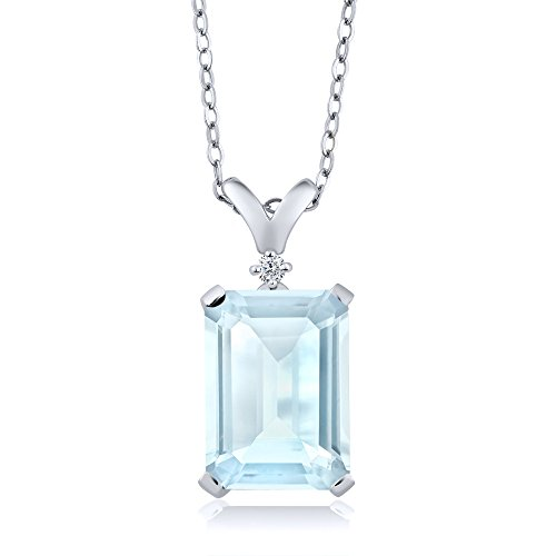 Gem Stone King 8.72 Ct Octagon Sky Blue Topaz White Diamond 925 Sterling Silver Pendant - Octagon Diamond Pendant