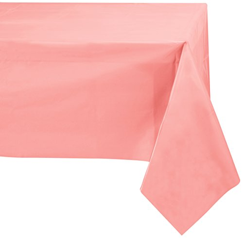 Pink Paper Tablecloths - Jubilee 54-Inch-By-108-Inch PEVA Table Cover, 4 Count, Pink