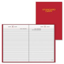 Daily Reminder Business Diary,Jan-Dec,1PPD,4-3/16''''x6-1/2'''',RD, Sold as 1 Each