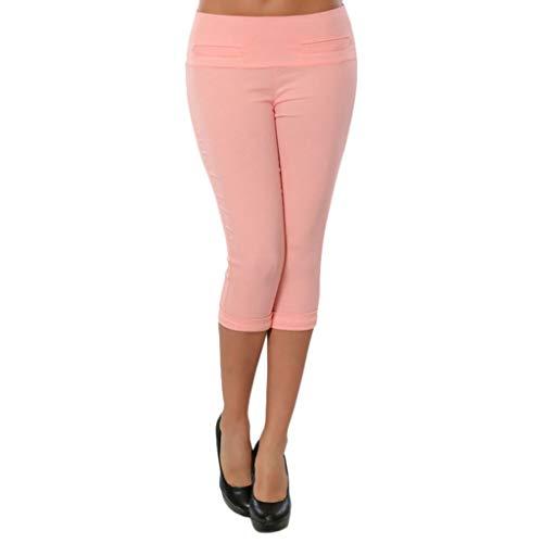 MMSunlight Women's Plus Size Comfort Collection L-Pocket Twill Capri Sleek Fit Yoga Crop Pant Pink