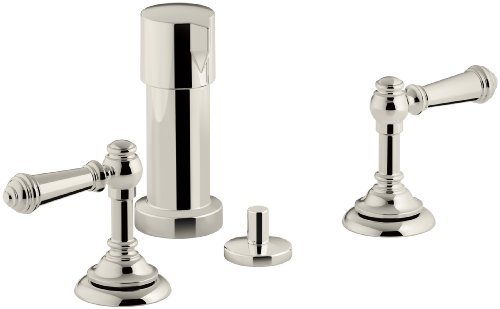 KOHLER K-72765-4-SN Artifacts Widespread bidet faucet with lever handles, Vibrant Polished Nickel