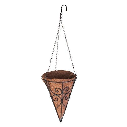 Cone Planter - Panacea Scroll Cone Basket with Coco Liner
