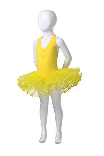 AvaCostume Girls Classic Halter Tutu Dress, Yellow, 4T-5