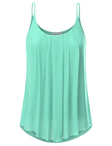 JJ Perfection Women's Pleated Chiffon Layered Cami Tank Top MINT L