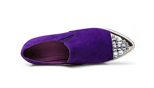 Des Purple En Mettent Femmes Des Occasionnels Des Mocassins MUYII Chaussures Dames Pour Cuir Pointues nEIqxOYw