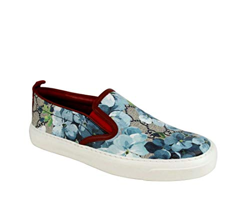 Gucci Women's Blue Bloom Supreme Canvas Slip On Sneaker 546150 8469 (36.5 G / 6.5 US)