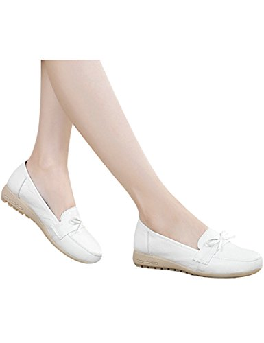 Plates Youlee Flâneur on Blanc Chaussures Femmes Mocassins Cuir Slip qrw4rxI