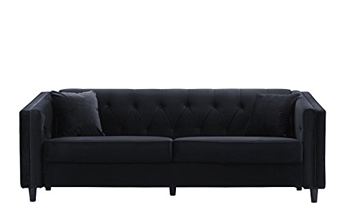 Classic Victorian Style Tufted Velvet Sofa, Living Room Couch with Tufted Buttons (Black)