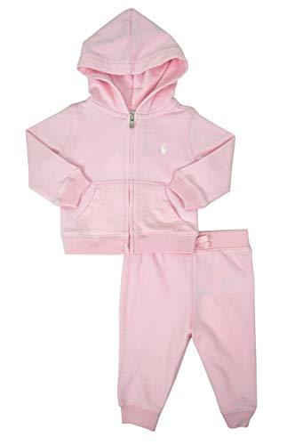 Set Terry Jog - Ralph Lauren Polo Baby Girls Terry Fleece Peplum Hoodie Jacket & Jog Pants Set (Pink, 18 Months)