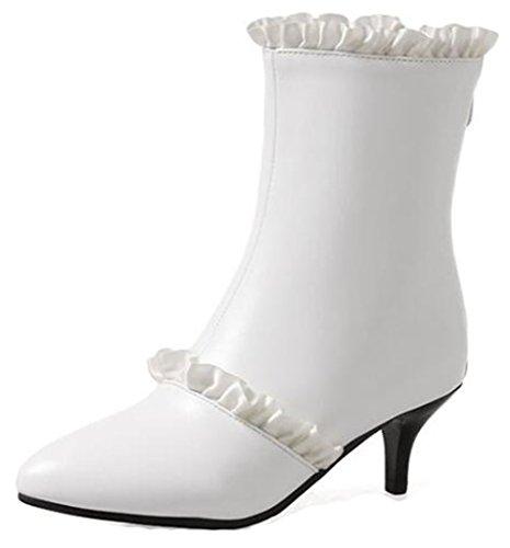 Easemax Donna Elegante Con Punta A Punta Arricciata Stivaletti Alla Caviglia Con Tacco Medio Gattino Bianco