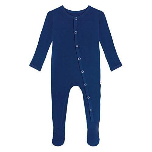 Posh Peanut One Piece Elegant Baby Romper Buttery Soft & Breathable Viscose from Bamboo - Premium Knit Baby Girl Clothes (Sailor Blue, 3-6 Months)]()