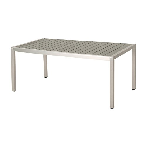 Christopher Knight Home 305353 Coral Outdoor Aluminum Dining Table with Faux Wood Top, Gray Finish