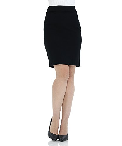 ATOUR Women's Stretch Basic Bodycon Suiting Pencil Skirt Solid Above Knee Black Size 6