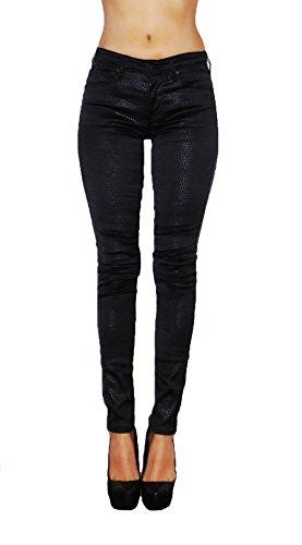 MersiBoutique Women's Black Shiny Snake Print Pants Super Skinny Valerie Style