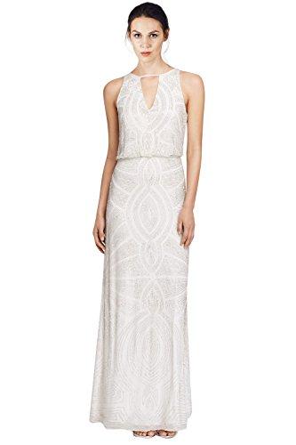 Aidan Mattox Sleeveless Beaded Keyhole Blouson Evening Gown Dress