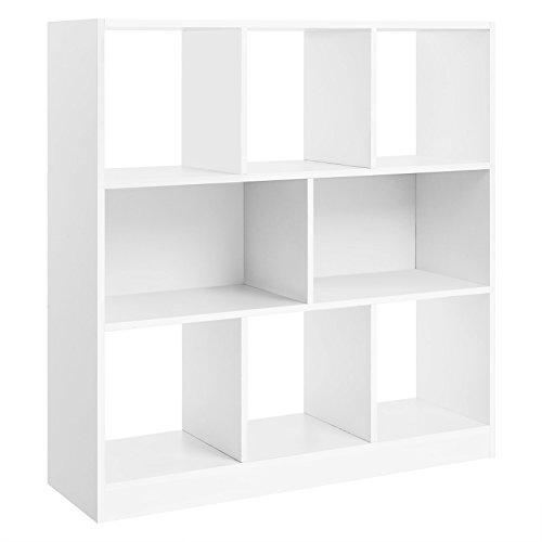 VASAGLE Libreria de Madera con Cubos y estantes Abiertos, Estanteria para Libros Independiente, para Sala de Estar, Dormitorio, Habitacion de ninos y Oficina Blanco LBC52WT