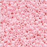 15/0 Round TOHO Japanese Glass Seed Beads #126 Opaque-Lustered Baby Pink (Lustered Rose)
