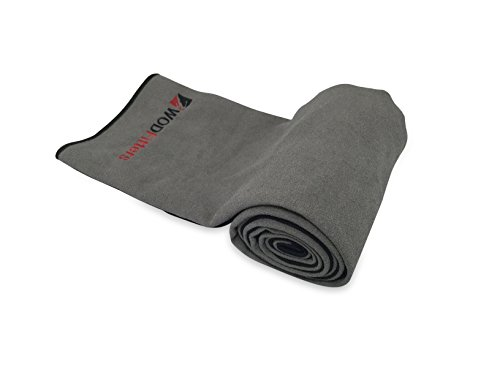 WODFitters Microfiber Yoga Towel (Grey with Black, Large)