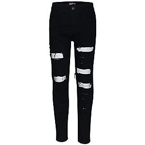 A2Z 4 Kids Kids Boys Stretchy Jeans Designer's Jet Black_Denim Ripped Fashion Bikers Skinny Pants Stylish Bottom Slim…