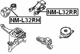 Rear Engine Mount Febest NM-L32RR OEM 11360-JA000