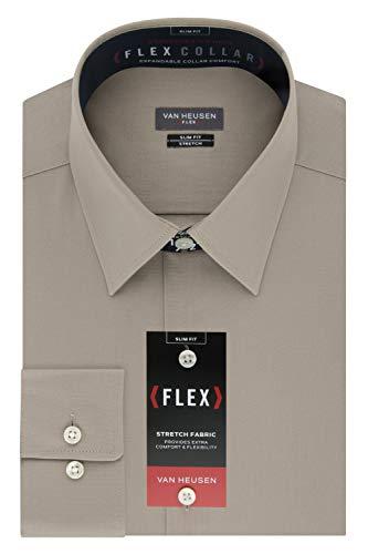 Van Heusen Men's Dress Shirt Slim Fit Flex Collar Stretch Solid, Light Chino, 15.5